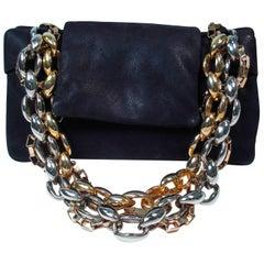 PAULE KA Black Leather Chain Pocket Book Clutch
