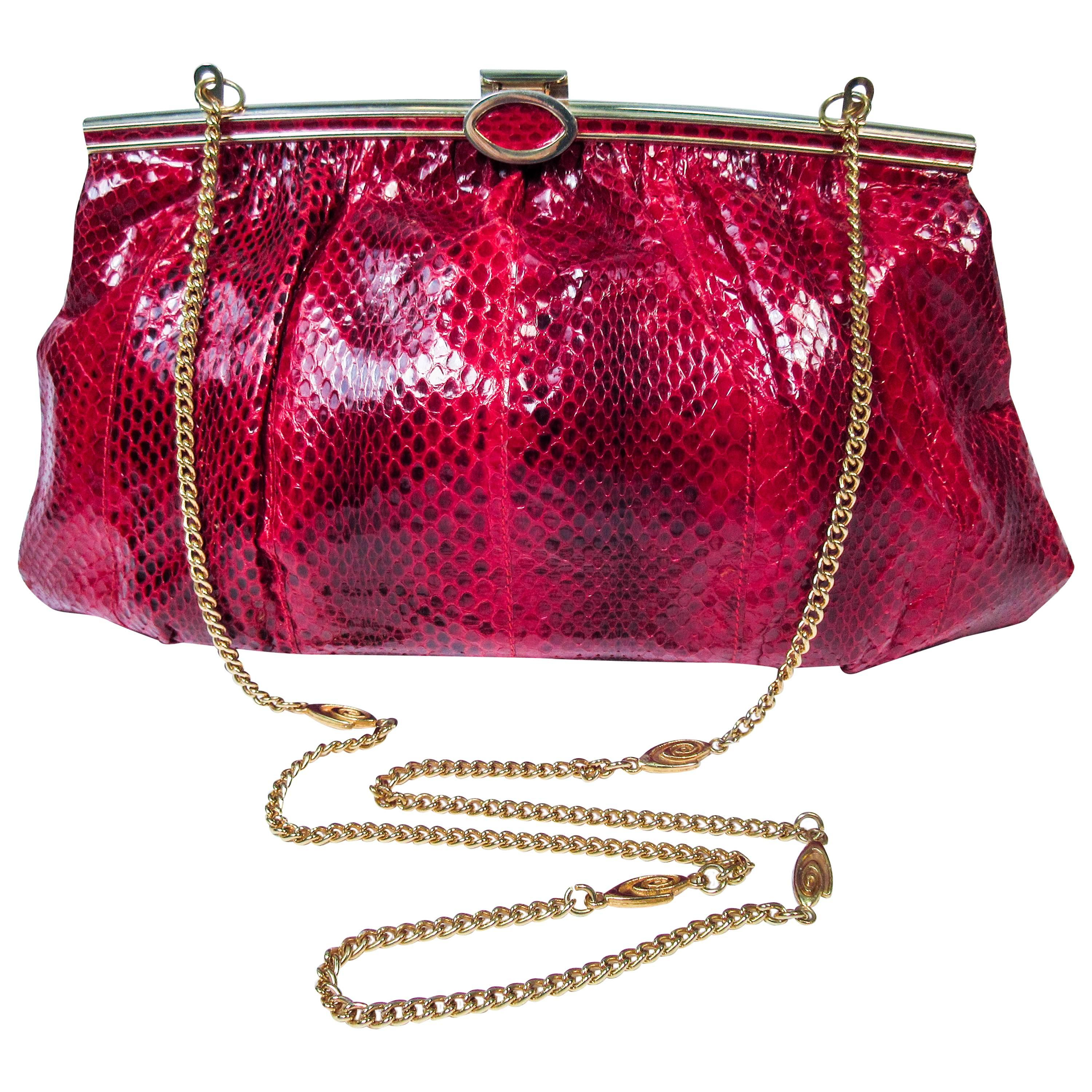 1stdibs Red Python Cross Body Clutch With Gold Hardware & Strap Made In Spain e26joh