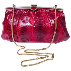 Red Python Cross Body Clutch with Gold Hardware & Strap Made in Spain