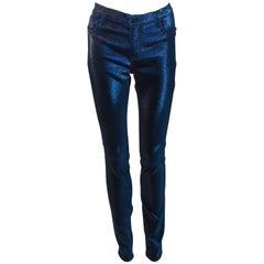 CHANEL Iridescent Metallic Blue Stretch Pants Size 40