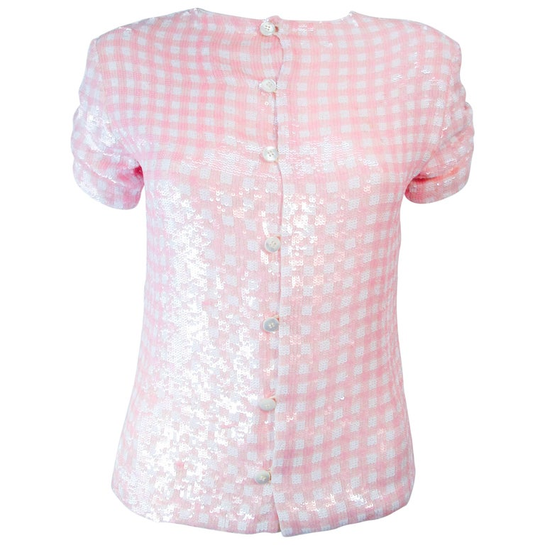 BILL BLASS Vintage Pink and White Sequin Blouse Size 4 6