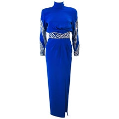 BOB MACKIE Royal Blue Gown with Beaded Applique Size 4 6