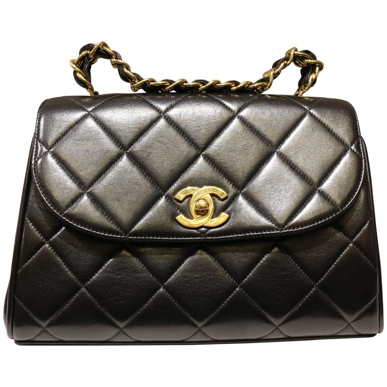 751be3074c00 Chanel Classic Black Quilted Lambskin Gold Chain Handle Handbag For Sale