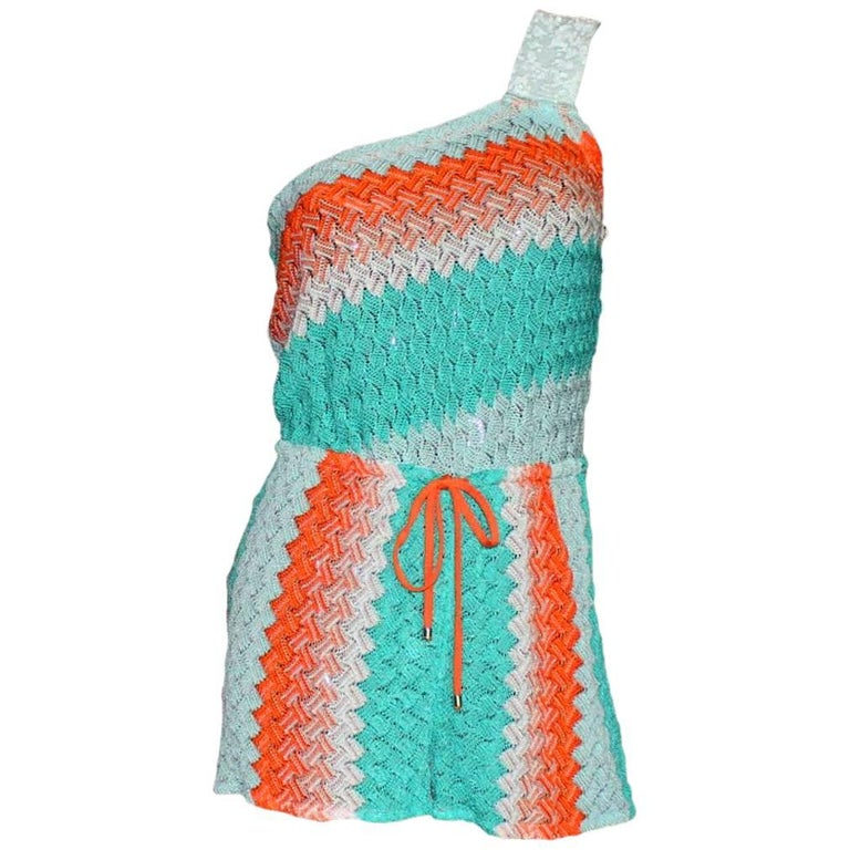 Missoni One Shoulder Crochet Knit Mini Jumpsuit with Sequin Trimming