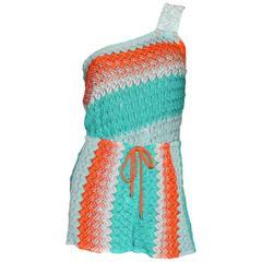 Missoni One Shoulder Crochet Knit Mini Jumpsuit with Sequin Trimming