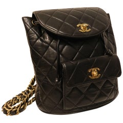 Chanel Black Lambskin Quilted Duma Backpack