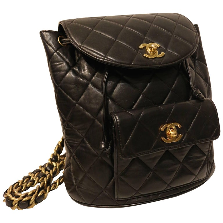 Chanel Black Lambskin Quilted Duma Backpack 1
