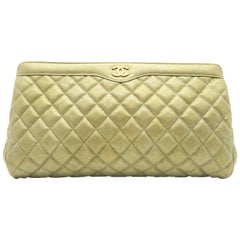 Chanel Gold Quilted Caviar Leather Clutch