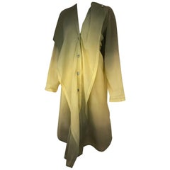 1990s ISSEY MIYAKE Green and Yellow Ombré 90s Cotton Vintage Dress