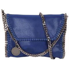 STELLA McCARTNEY Blue Suede-Like FALABELLA Fold Over Shoulder Bag