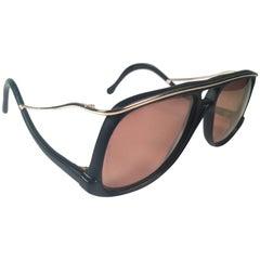 New Vintage Colani Design Black Gold Mirror Lenses Italy 1980's Sunglasses