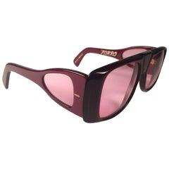 """New Vintage Ultra """" Zorro """" Burgundy British Hand Made 1980's Sunglasses"""