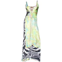 Roberto Cavalli Leather Lace Up Printed Evening Gown Maxi Dress