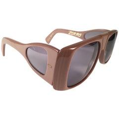 "New Vintage Ultra "" Zorro "" Toffee British Hand Made 1980's Sunglasses"
