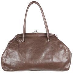 MIU MIU Taupe Leather KISS LOCK TOTE Shoulder Bag