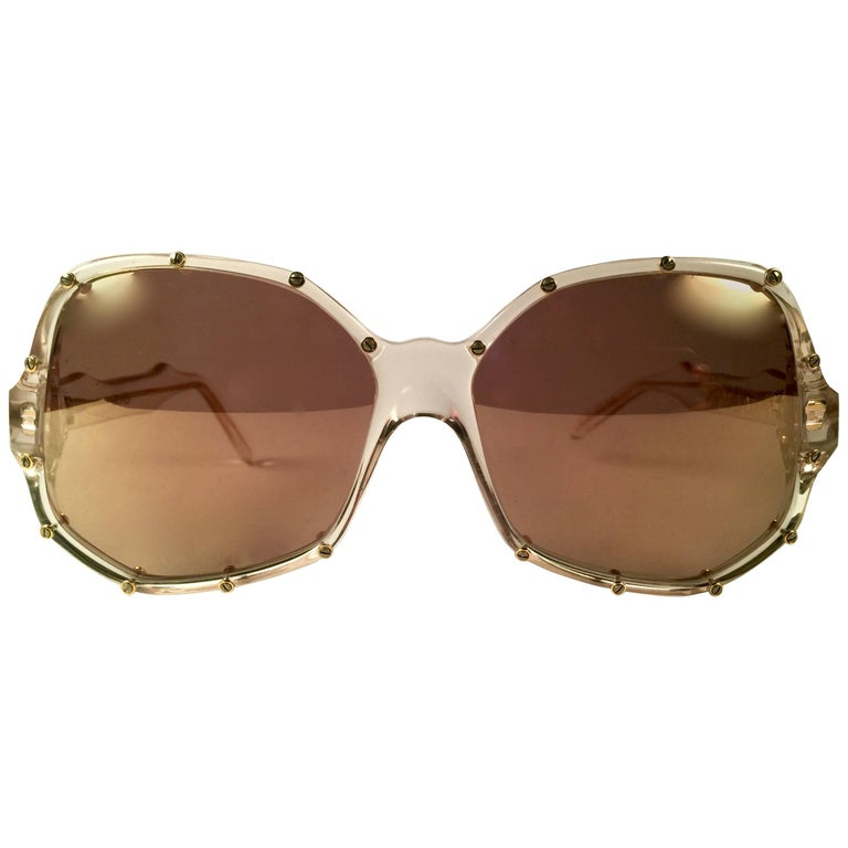 """New Vintage Ultra """" Malaysia """" Clear & Gold British Hand Made 1980's Sunglasses"""