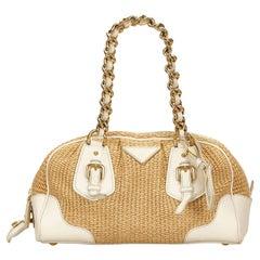 Prada Brown Straw Shoulder Bag
