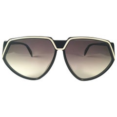 New Vintage Rodenstock Black & White Grey Gradient Lenses 1980's Sunglasses