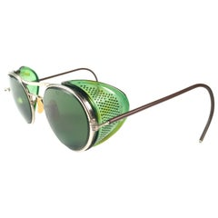 Mint Vintage Bausch & Lomb Goggles Green Steampunk 50s Collector Item Sunglasses