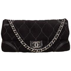 Chanel Black Nubuck Leather Flap