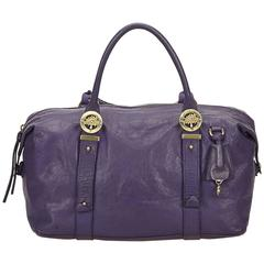 Mulberry Purple Leather Duffel Bag