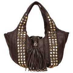 Lancel Brown Studded Leather Tote