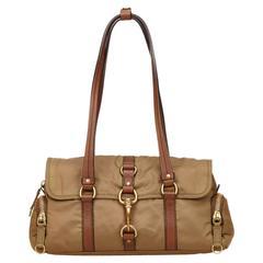 Miu Miu Brown Nylon Flap Shoulder Bag