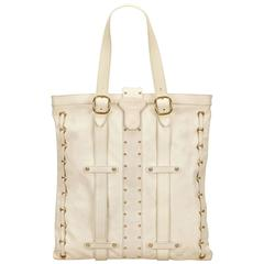 Valentino White Studded Leather Tote Bag