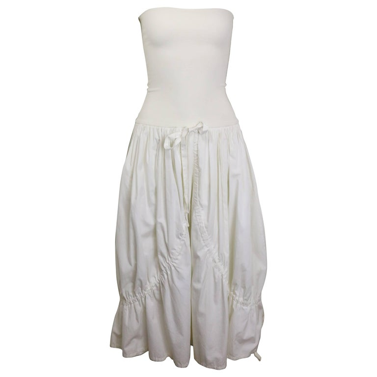 Dolce and Gabbana White Cotton Strapless Dress For Sale