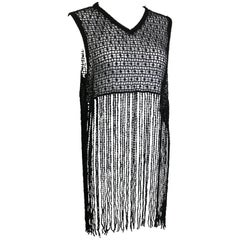 Jeff Gallano Black Knitted See Through Fringe Sleeves Top