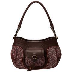 Celine Red Wool Shoulder Bag