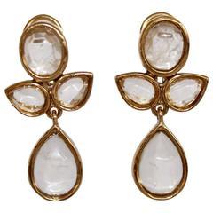 Goossens Paris Rock Crystal Floral Clip Earrings