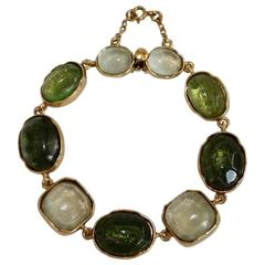 Goossens Paris Shades of Green Rock Crystal Bracelet