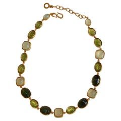 Goossens Paris Shades of Green Rock Crystal Necklace