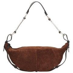 YSL Brown Suede Leather Shoulder Bag