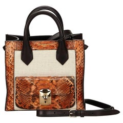 Balenziaga Black and Brown Python Mini Padlock All Afternoon Shoulder Bag