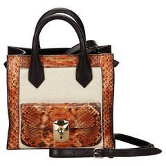 Balenziaga Black and Brown Python Mini Padlock All Afternoon Shoulder Bag
