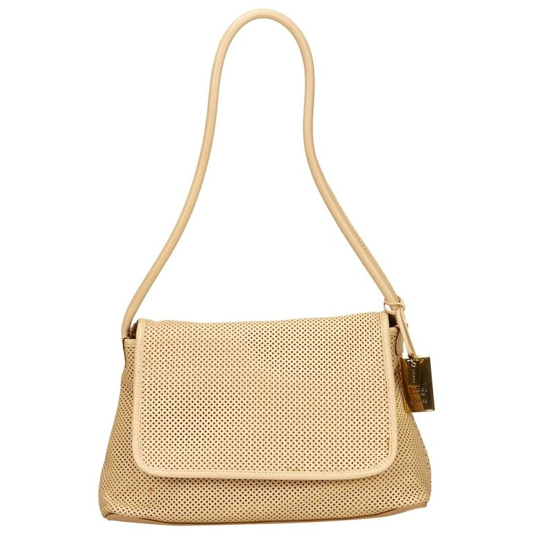 f73fbe4a0 Gucci Brown Perforated Leather Shoulder Bag For Sale at 1stdibs