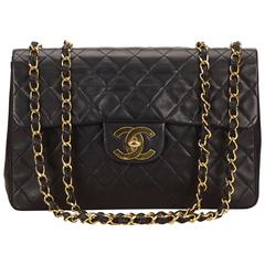 Chanel Black Maxi Quilted Lambskin Flap Bag