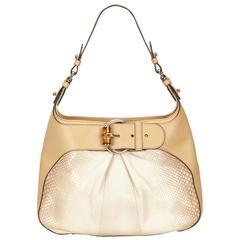 Gucci White Python Bamboo Shoulder Bag