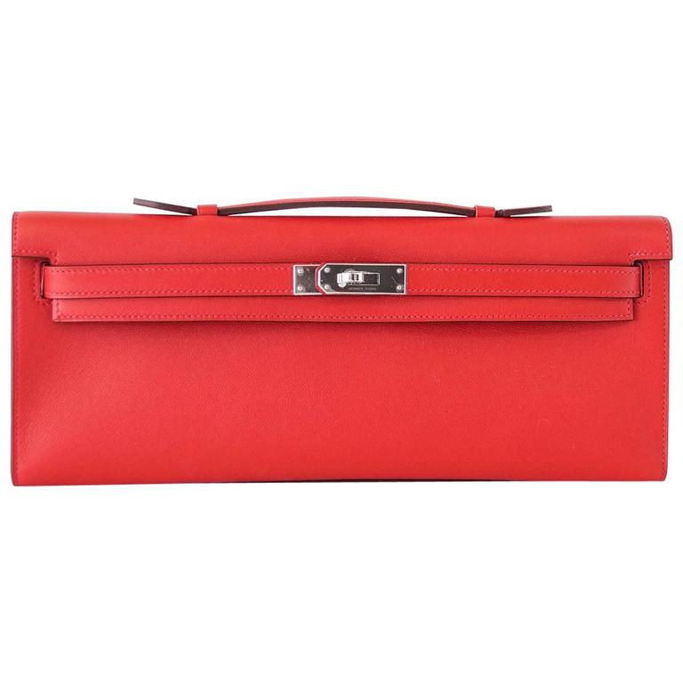 63d28a407288 Hermes Kelly Cut Vermillion Red Clutch Bag Swift Palladium For Sale at  1stdibs