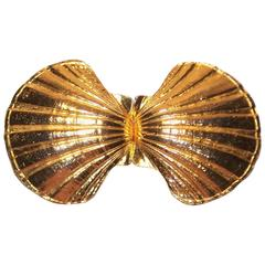 Large 1972 Mimi di N Gold Scallop Shell Belt Buckles