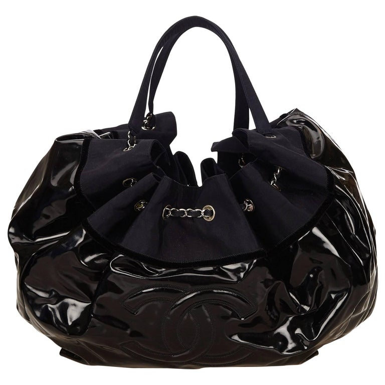 Chanel Black Patent and Navy Nylon Stretch Spirit Cabas Tote Bag