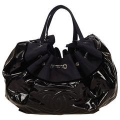 Chanel Black Patent and Navy Nylon Stretch Spirit Cabas Tote Bag