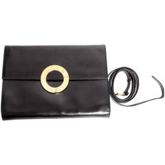 Vintage Celine Black Leather Clutch / Crossbody
