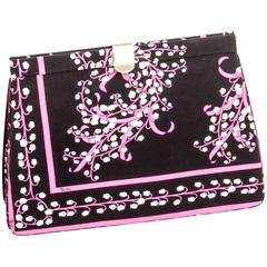 Pucci Silk Lily of the Valley Clutch with Hidden Shoulder Chain