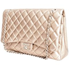 Chanel Pewter Metallic Double Flap with Satin Finish Silver Hardware