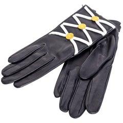 Hermes Navy Leather Gloves