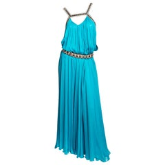 Matthew Williamson Turquoise Silk Gown - Size 10