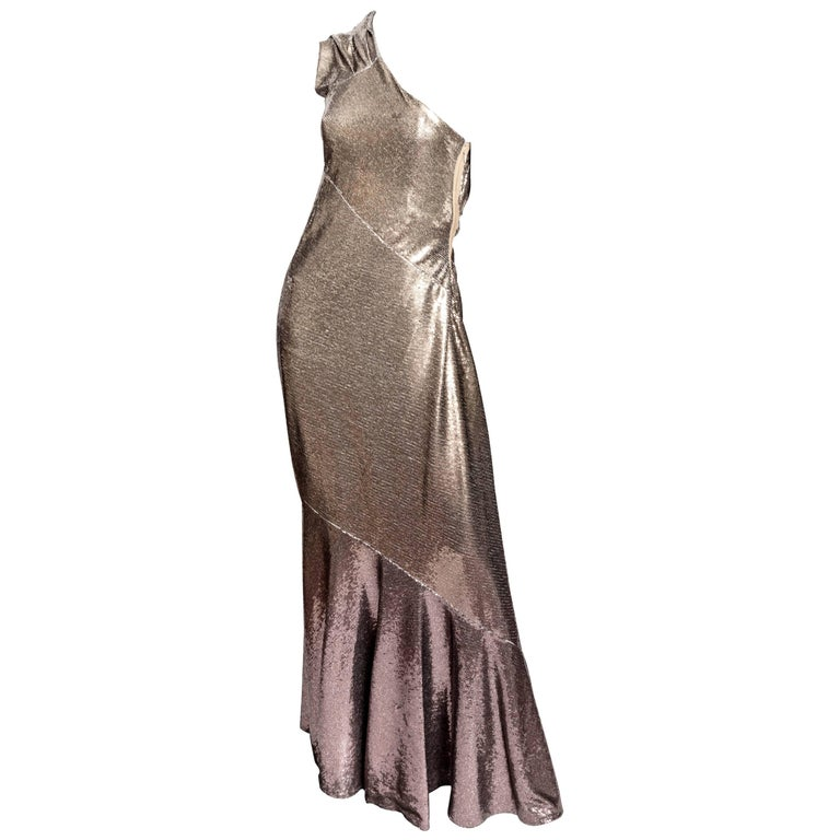 Donna Karan Black Label Bronze Sequin One Shoulder Gown - US 12 / GB 14 / IT 46